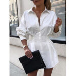 New              Women Solid Lapel Long Sleeves Tie Waist Casual Shirt Dress