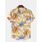 New              Mens Cotton Tropical Plant Leaves Print Turn Down Collar Hawaii Holiday Short Sleeve Shirts