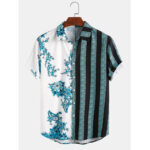 New              Banggood Design Men 100% Cotton Porcelain Stripe Mixed Print Short Sleeve Casual Holiday Shirts