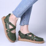 New              Women Wide Fit Comgy Cross Bluckle Strap Closed Toe Sandals