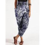 New              Women Print Side Zipper Belted Irregular Pocket Vintage Floral Pants