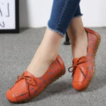 New              Women Bowknot Flowers Printing Comfy Non Slip Soft Sole Casual Leather Loafers