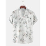 New              Mens Coconut Trees Light Printed Turn Down Collar Pocket Hawaii Casual Short Sleeve Shirts