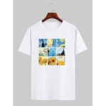 New              Mens Designer Van Gogh Famous Painting License Short Sleeve White T-Shirts