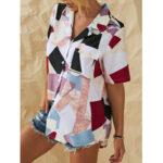 New              Geometric Patchwork Lapel Button Down Print Shirts For Women