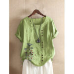 New              Women Vintage Floral Embroidery Short Sleeve Casual T-shirts