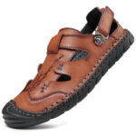 New              Men Genuine Leather Slip Resistant Anti-collision Toe Sole Casual Sandals