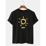 New              Mens Funny Sun Cartoon Print Crew Neck Casual T-Shirts