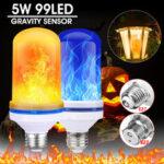 New              E27/B22 99LED Beads 5W Super Bright 4 Modes Gravity Sensor Flame Effect Light Bulb Lamp Home Decor