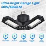 New              E27 60W 6000LM LED Garage Light Foldable Ceiling Fixture Workshop Deformable Lamp AC85-265V