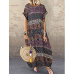 New              Bohemian Vintage Geometric Print Short Sleeve Side Pocket Casual Maxi Dress