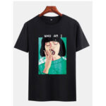 New              Mens Lady Oil Print Black Short Sleeve Casual T-Shirts