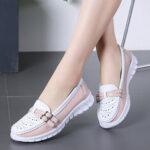 New              Women Walking Holow Slip Resistant Casual Slip On Flats