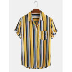 New              Mens Colorful Stripe Patch Pocket Breathable Casual Holiday Shirts