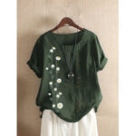 New              Women Casual Daisy Print Vintage Loose Short Sleeve T-shirts