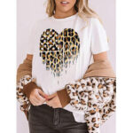 New              Leopard Star Print White Short Sleeve Daily Casual T-shirts