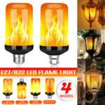 New              E27 B22 5W LED Flicker Flame Light Bulb 4 Modes Burning Fire Effect Gravity Sensor Lamp AC85-265V