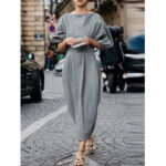 New              Women Solid Color Cotton Linen High Waist Daily Casual Maxi Dress