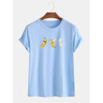 New              Mens Cartoon Three Banana Printed Short Sleeve Casual T-Shirts