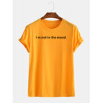 New              Mens Funny Slogan Print Breathable Round Neck Short Sleeve T-shirts