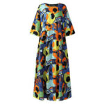 New              Vintage Graffiti Print Half Sleeve Cotton Bohemian Beach Dress