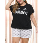 New              Plus Size Women Funny Letter Print Polka Dot Loose Two Piece Home Short Pajama Set