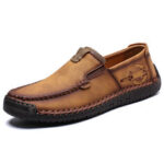 New              Menico Men Hand Stitching Non Slip Casual Slip On Leather Flats