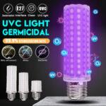 New              5W 10W 12W 250nm E27 LED UV-C Bulb UV Germicidal Lamp Sterilize Disinfection Home Light 110-220V