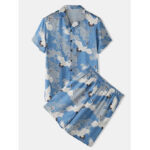 New              Mens Chinese Style Crane Print Lapel Collar Short Sleeve Home Faux Silk Pajama Set