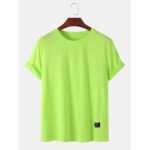 New              Mens Plain Solid Color Little Tag Breathable Short Seeve T-Shirts