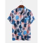 New              Mens Multi-Color Irregular Polka Dot Camouflage Printed Casual Short Sleeve Shirts