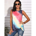 New              Tie-Dye Gradient Print Sleeveless O-neck Casual Tank Tops For Women