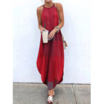 New              Women Sleeveless O-neck Floral Print Irregular Hem Long Maxi Dress