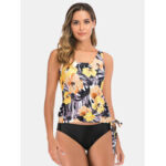 New              Plus Size Women Floral Tropical Print Tankinis With Three Kinds Of Black Bottom