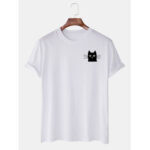 New              Mens Simple Cartoon Cat Graphic Casual Short Sleeve T-Shirts