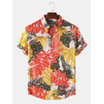 New              Mens Tropical Plant Print Turn Down Collar Hawaii Holiday Short Sleeve Shirts