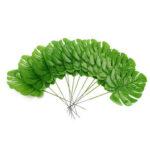New              12Pcs Artificial Branch Palm Fern Turtle Leaf Plant Tree Foliage Green Plant Decor