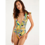 New              Womens Colorful Leaves Print Ruffles V-Neck Swimwear Backless One Piece