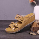 New              LOSTISY Women Double Band Handmade Hollow Casual Comfy Sandals