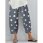 New              Polka Dot Print Elastic Wasit Split Irregular Hem Pocket Pants For Women