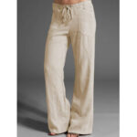 New              Women Solid Color High Drawstring Waist Loose Casual Pants With Pocket