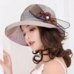 New              Mesh Foldable Wide Brim Hat Anti-UV Cap For Lady Flower Beach Sun Hat For Women Elegant Summer Hats