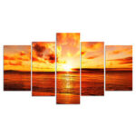 New              5 Pcs Wall Decorative Painting Huge Modern Abstract Wall Decor Sea Art Pictures Canvas Prints Home Office Hotel Decorations Oil Paintings