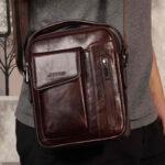 New              Men Vintage Genuine Leather Crossbody Bag Shoulder Bag Business Bag