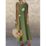 New              Women Summer Vintage Flower Print Sleeveless Loose Maxi Dress with Pockets