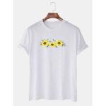 New              Mens Plain Oil Print Sunflowers Short Sleeve Casual T-shirts