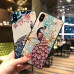 New              Fashion Chinoiserie Peafowl Pattern 3D Embossed TPU Protective Case for iPhone X / XS / XR / XS Max / 6 / 7 / 8 / 6S Plus / 6 Plus / 7 Plus / 8 Plus