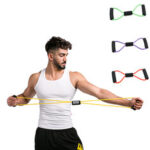 New              8-Shaped Home Workout Elastic Rubber Loop Sports Resistance Bands Pull Tension Rope Chest Expander
