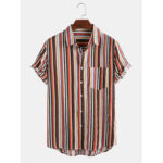 New              Mens Cotton Colorful Striped Patch Pocket Short Sleeve Casual Shirts