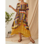 New              Ethnic Print Layered Short Sleeve Vintage Maxi Dress For Women